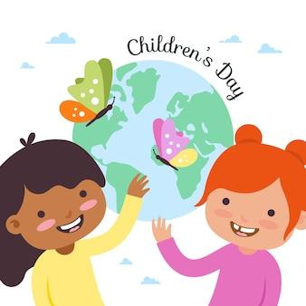 Всемирный день защиты детей в плоском дизайне