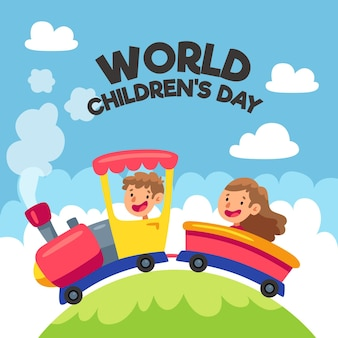 Flat design world childrens day