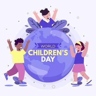 Flat design world childrens day