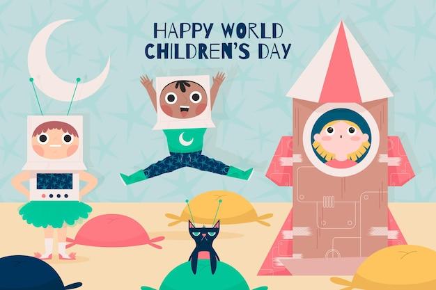Всемирный день защиты детей в плоском дизайне Premium векторы