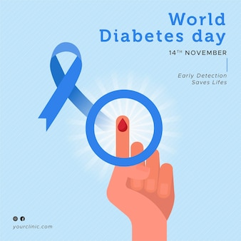 Flat design world diabetes day awareness month