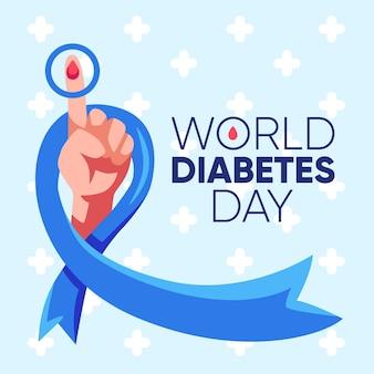 フラットデザインの世界糖尿病デーを祝う