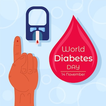 Flat design world diabetes day celebration