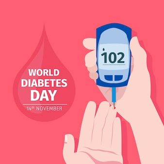 Design piatto giornata mondiale del diabete concetto
