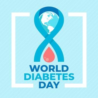 血のフラットデザイン世界糖尿病デードロップ
