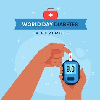 Flat design world diabetes day glucometer