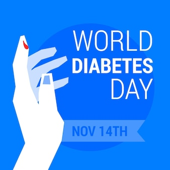 Flat design world diabetes day hand with drop of blood