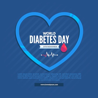 Flat design world diabetes day illustration with blue heart