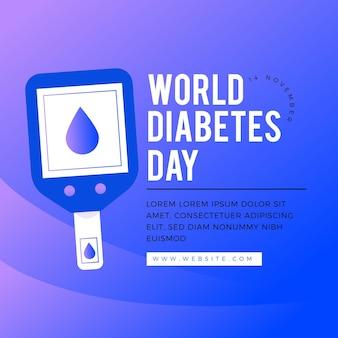 Плоский дизайн шаблона всемирного дня диабета