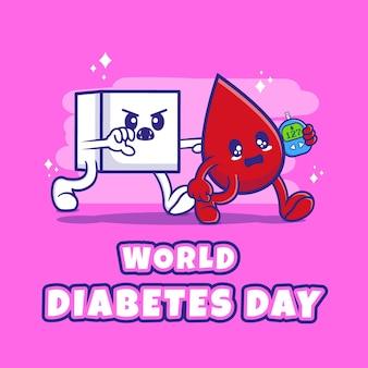 캐릭터 일러스트와 함께 평면 디자인 세계 당뇨병의 날. 프리미엄 벡터