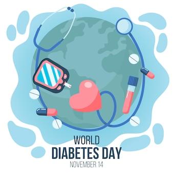 Плоский дизайн всемирного дня диабета с медициной