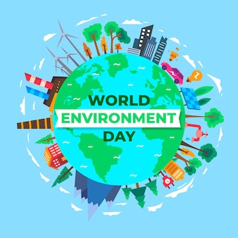 Flat design world environment day background
