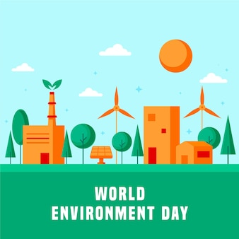 Празднование дня окружающей среды в плоском дизайне