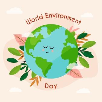 Flat design world environment day concept