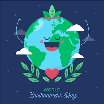 Плоский дизайн концепции мира окружающей среды день
