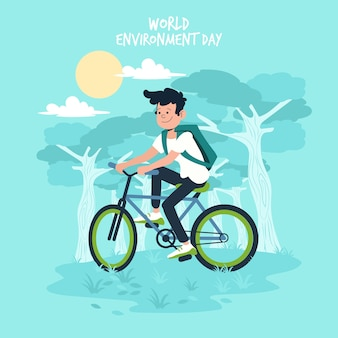 Flat design world environment day event theme