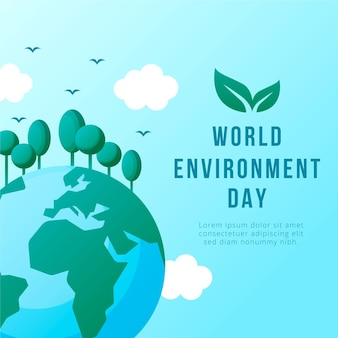 Flat design world environment day event