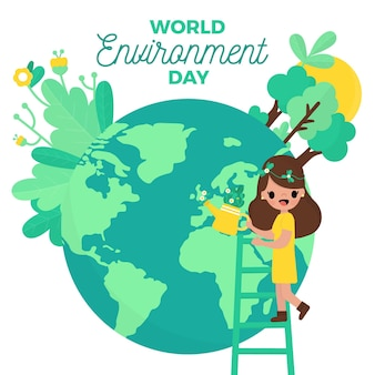 Flat design world environment day people