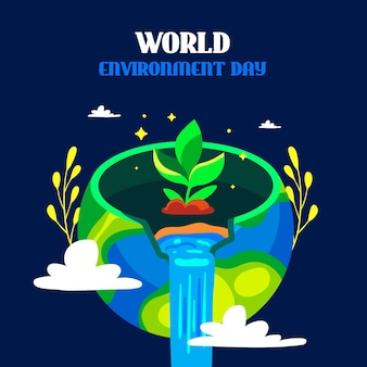 Flat design world environment day with seedling Free Vector