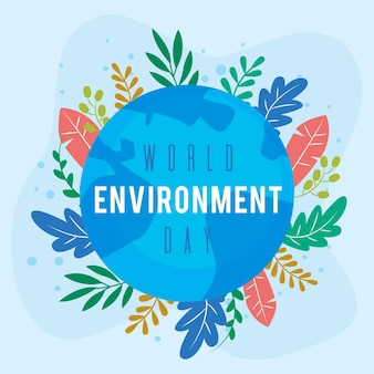 Flat design world envrironment day concept