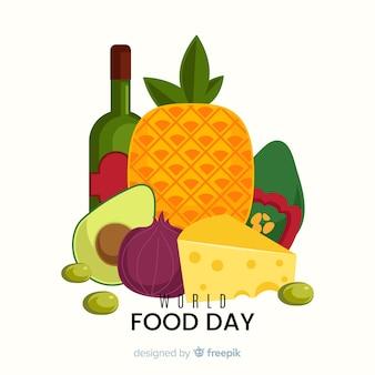 フラットなデザインの世界の食べ物の日とワインのボトル