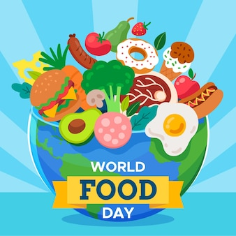Flat design world food day background with globe