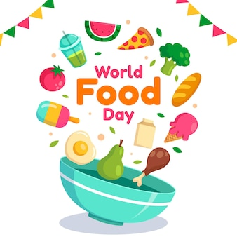 Flat design world food day background