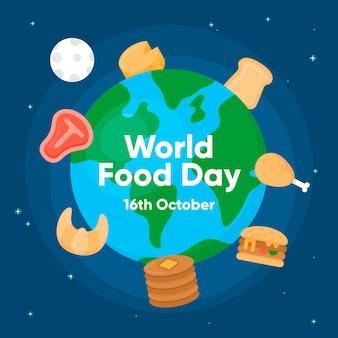 フラットなデザインの世界食の日のコンセプト