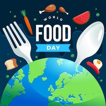 평면 디자인 세계 음식의 날 개념