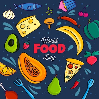 Flat design world food day concept