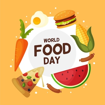 Flat design world food day illustration concept