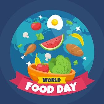 フラットなデザインの世界食の日イラストスタイル