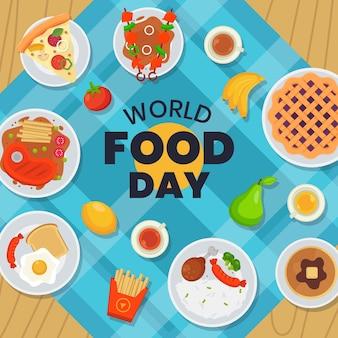 ナプキンにフラットデザインの世界の食品の日