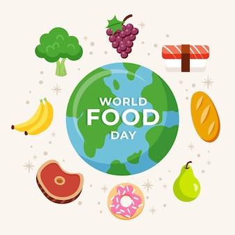 フラットなデザインの世界の食品の日のテーマ