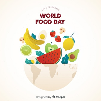 Flat design world food day with aliments in bowl