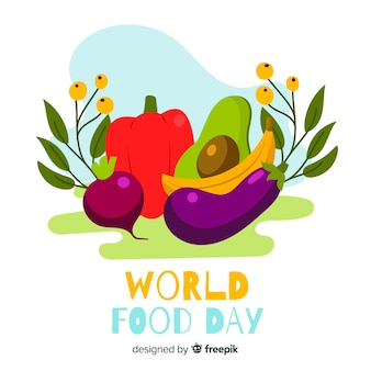 Flat design world food day with aliments