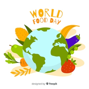 Flat design world food day with eath