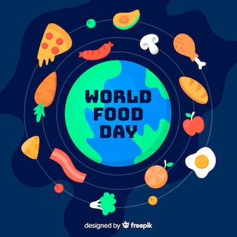 Flat design world food day with globe