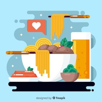 パスタとフラットなデザインの世界の食べ物の日