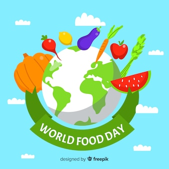 Flat design world food day with planet