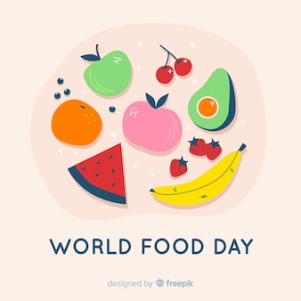 Flat design world food day with tomato