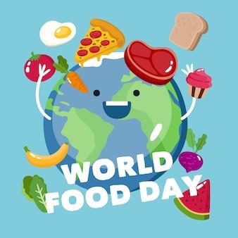 フラットデザインの世界の食品の日