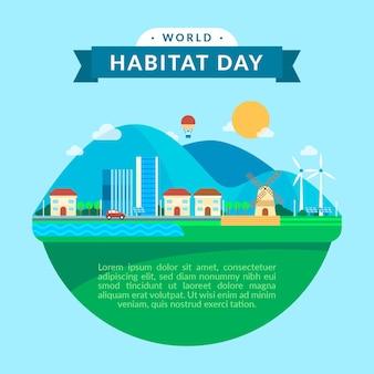 Flat design world habitat day concept