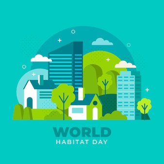Flat design world habitat day concept