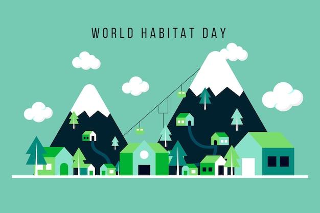 Плоский дизайн всемирного дня среды обитания