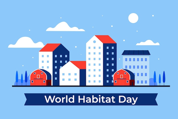 Flat design world habitat day event