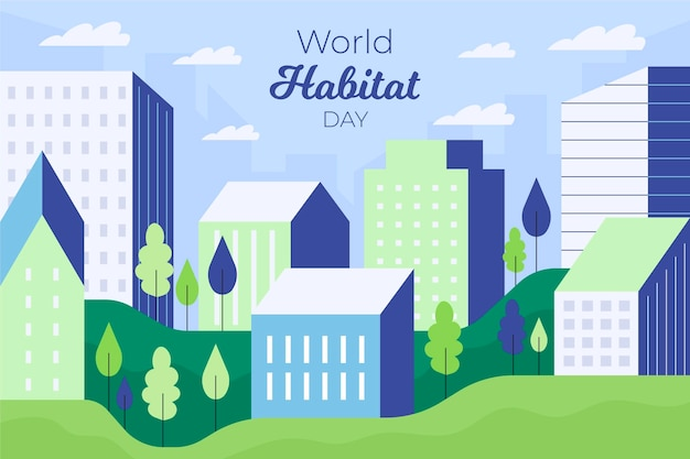 Flat design world habitat day