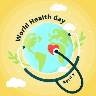 Flat design world health day on april 7th