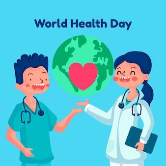 Плоский дизайн всемирный день здоровья фон обои