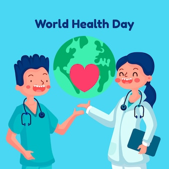 Flat design world health day background wallpaper